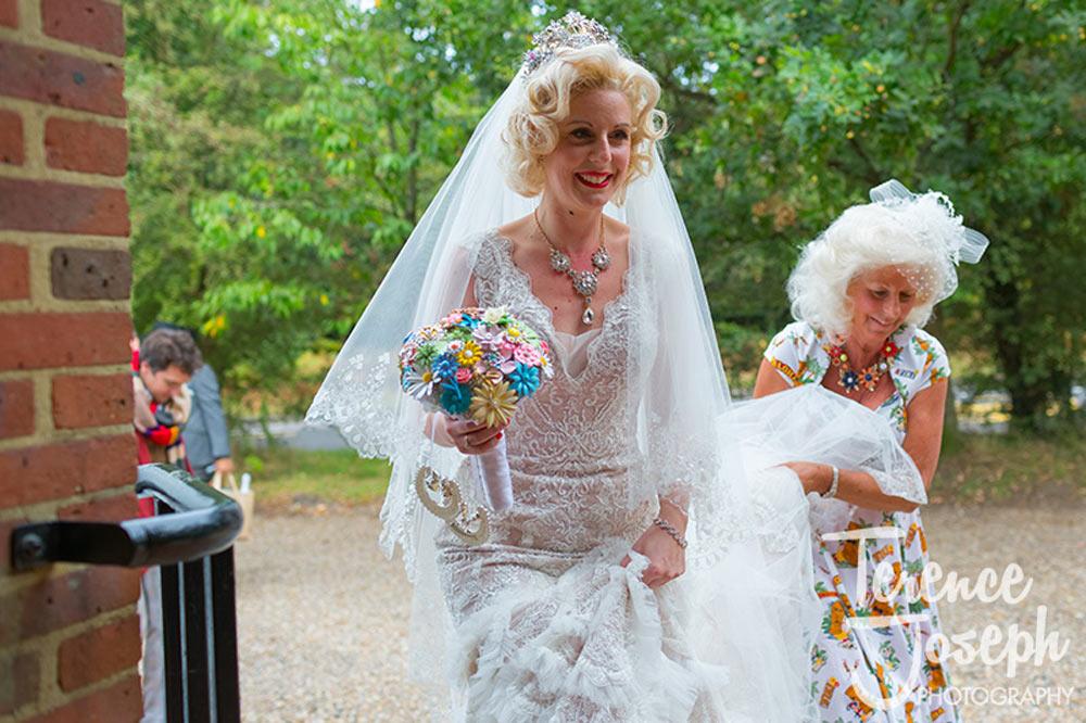Bride moving in the venue