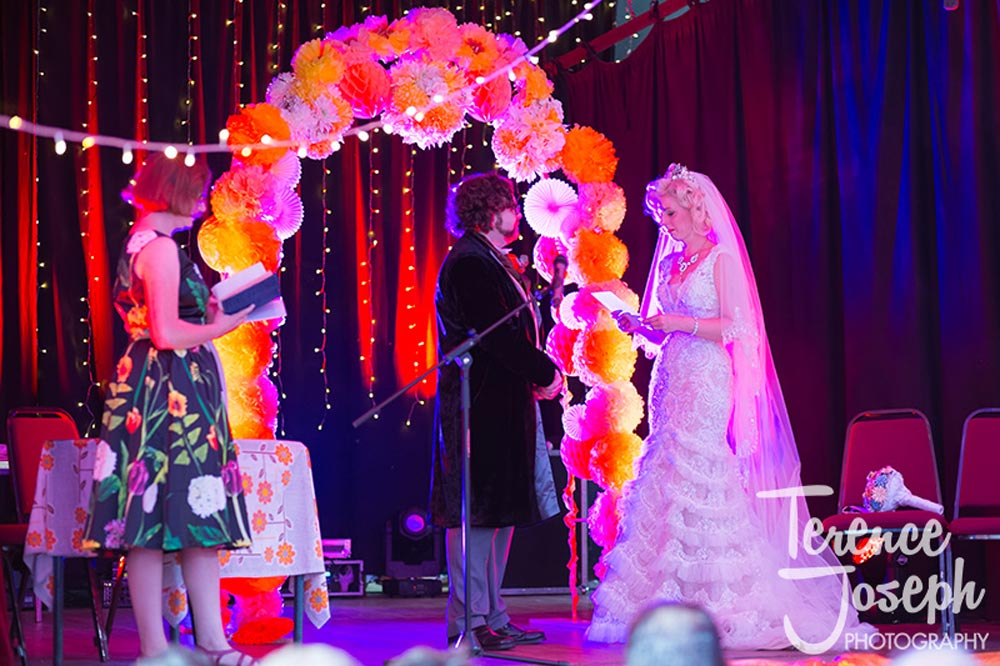 Bride and Groom on stage