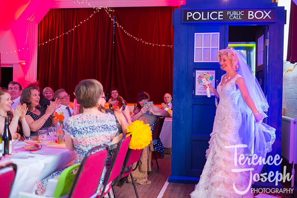 Colourful Dr.Who and Marilyn Munroe inspired Keston Village Hall Wedding