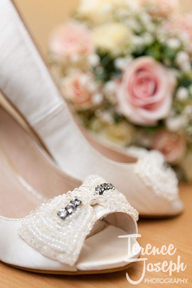 Wedding shoes at Oakwood House in Maidstone