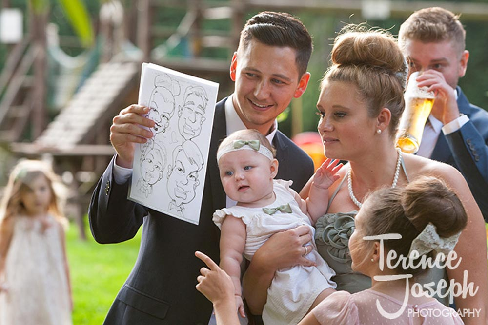 Wedding caricatures at The Plough at Leigh wedding reception