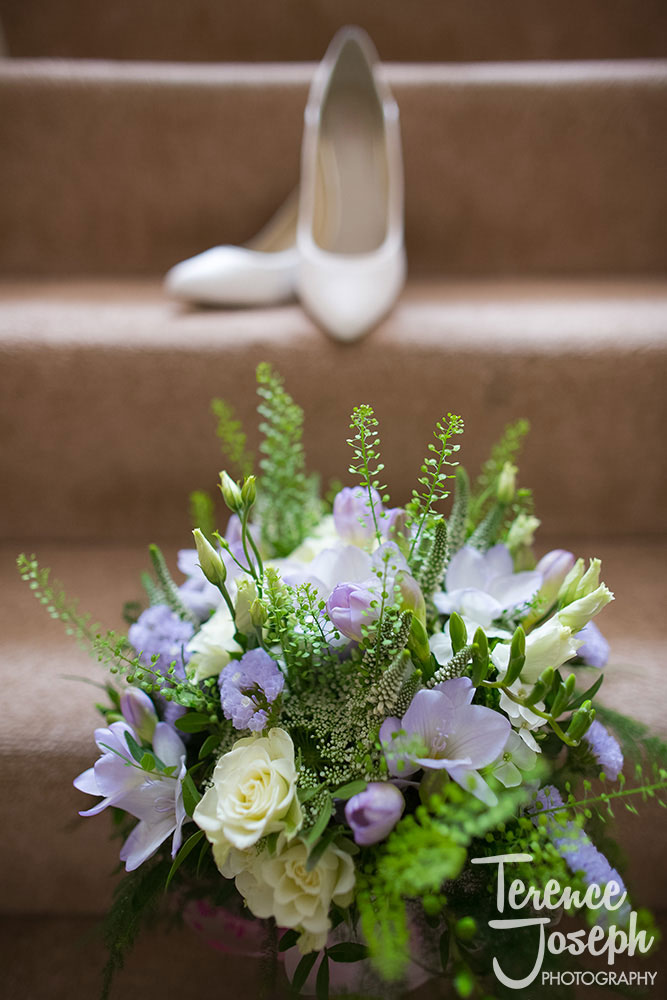 Flowers and Bridal shoes at The Plough at Leigh