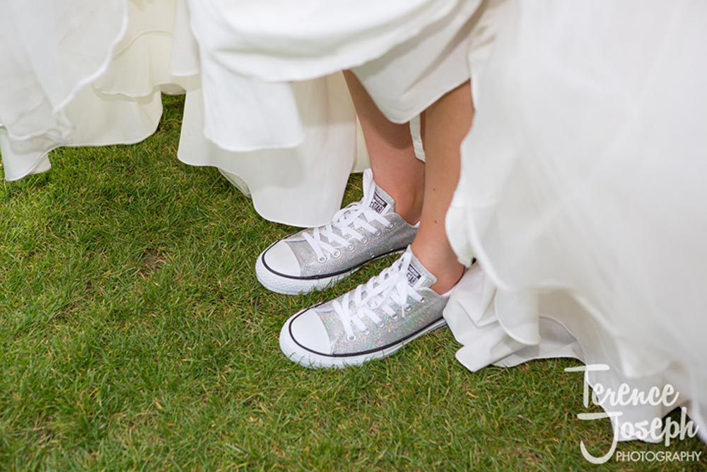 Super cool and sparkly converse sneakers for brides