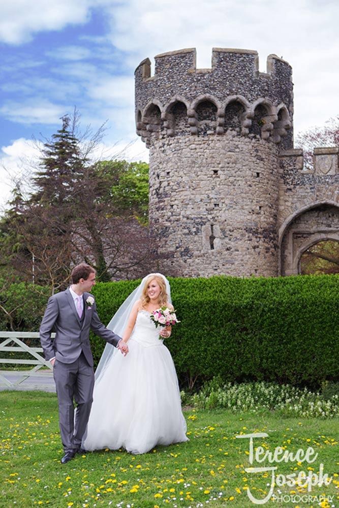 Castle wedding photos in field
