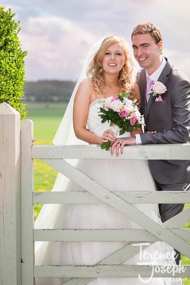 Happy wedding photos of bride and groom