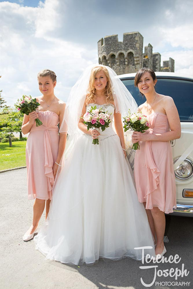 Bridesmaids in pink dresses stand beside the bride