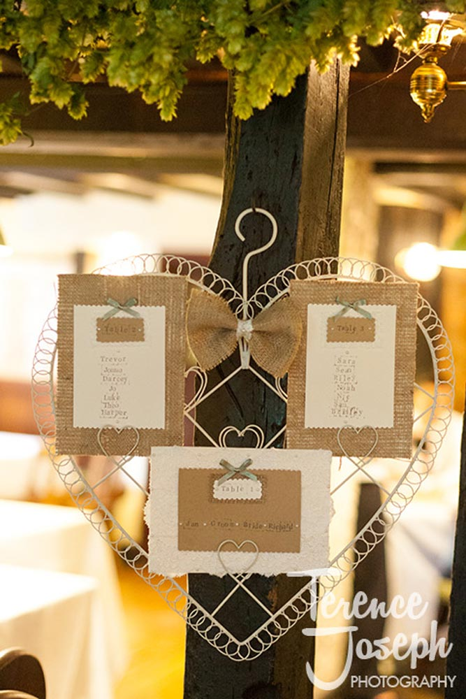 Homemade Vintage wedding decorations at The Plough at Leigh wedding reception