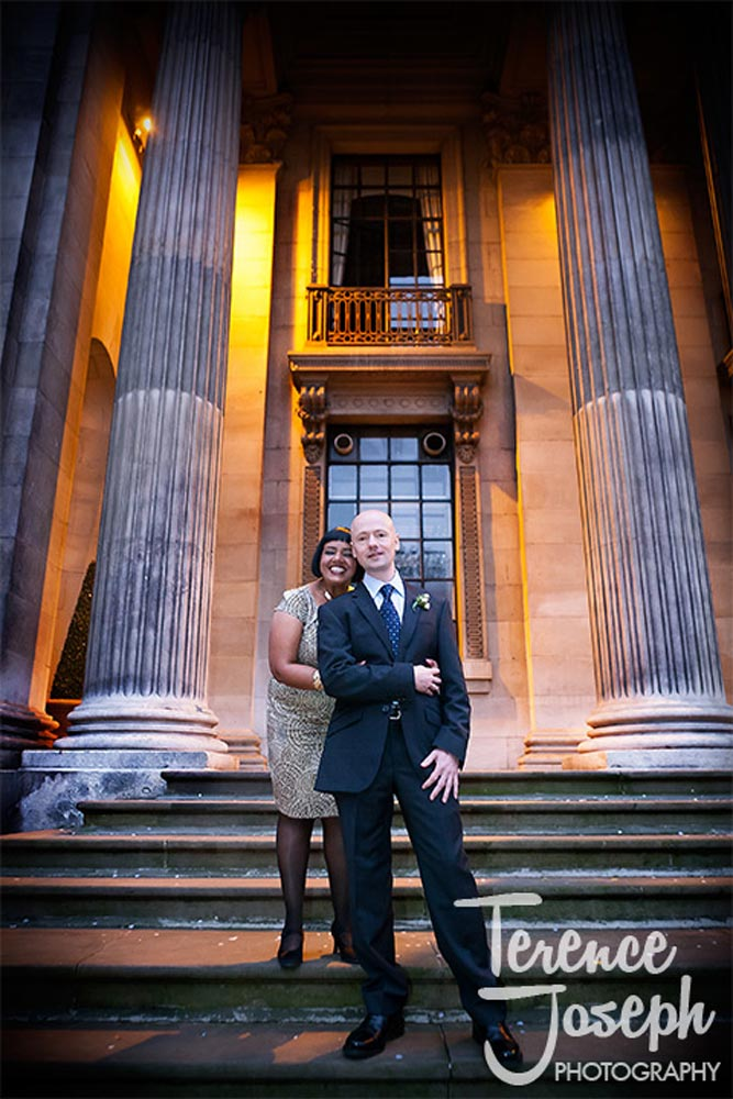 Wedding portrait outside at The Old Marylebone Town Hall