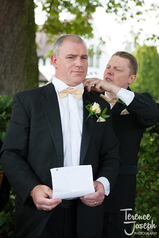 Father of the bride prepares for his speech