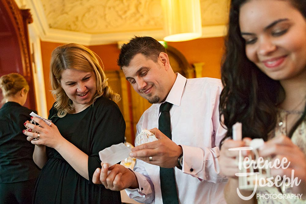 Wedding guests receive thoughtful gifts