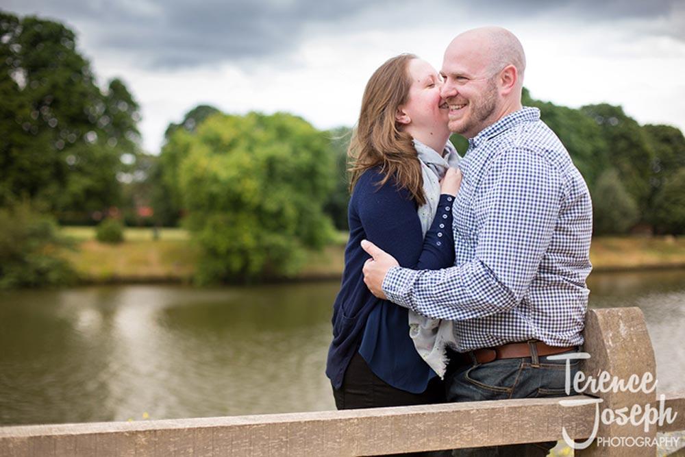 Fun and happy couple in Hampton Court