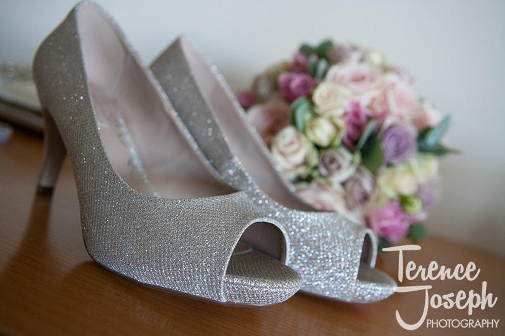 Sparkling bridal shoes at Reading Wedding