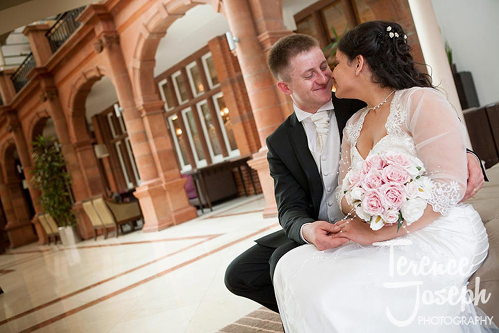 Lovely bride and groom portraits Moran Hotel London