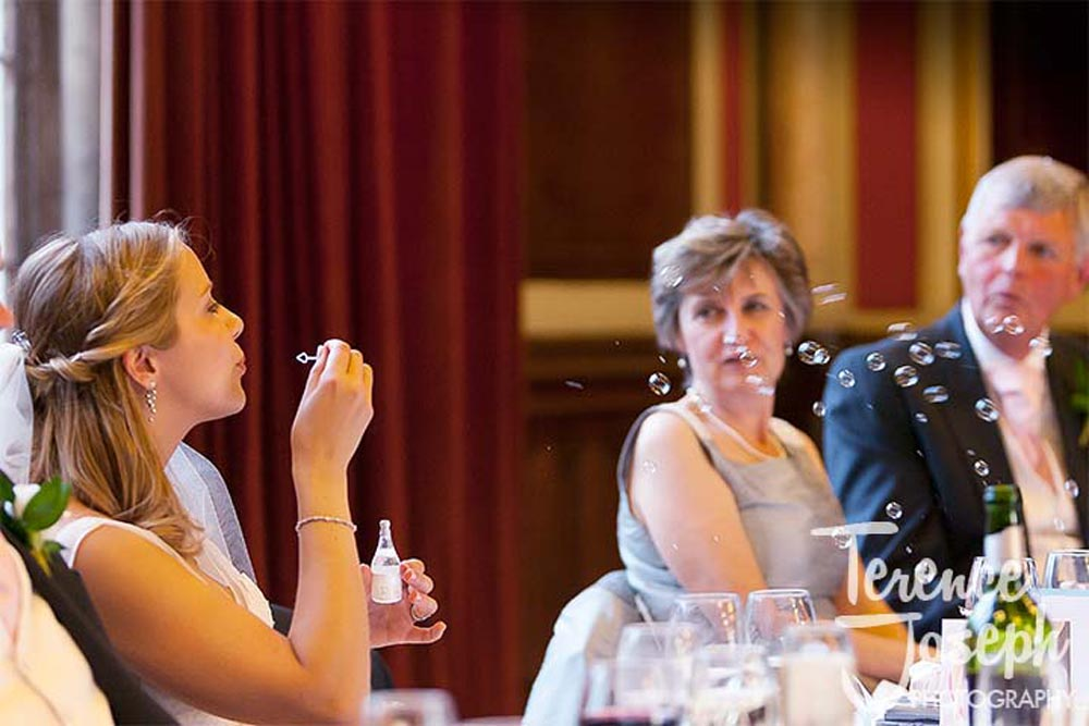 Wedding breakfast in the Great Hall Dulwich College London