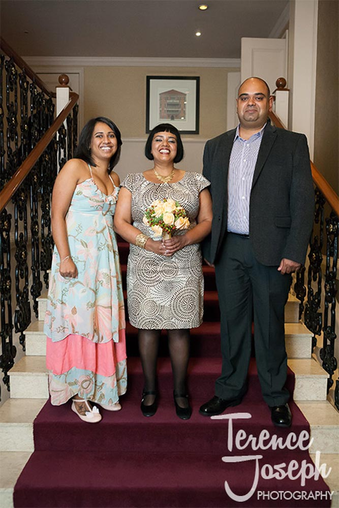 Group wedding portrait at St James' Court Taj Hotel London