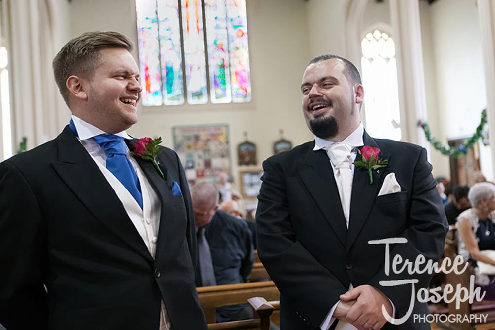 Groom laughs nervously