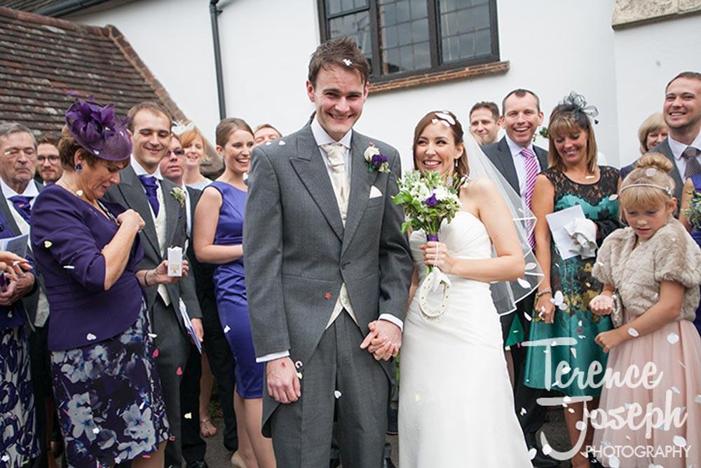 Confetti photos after wedding ceremony