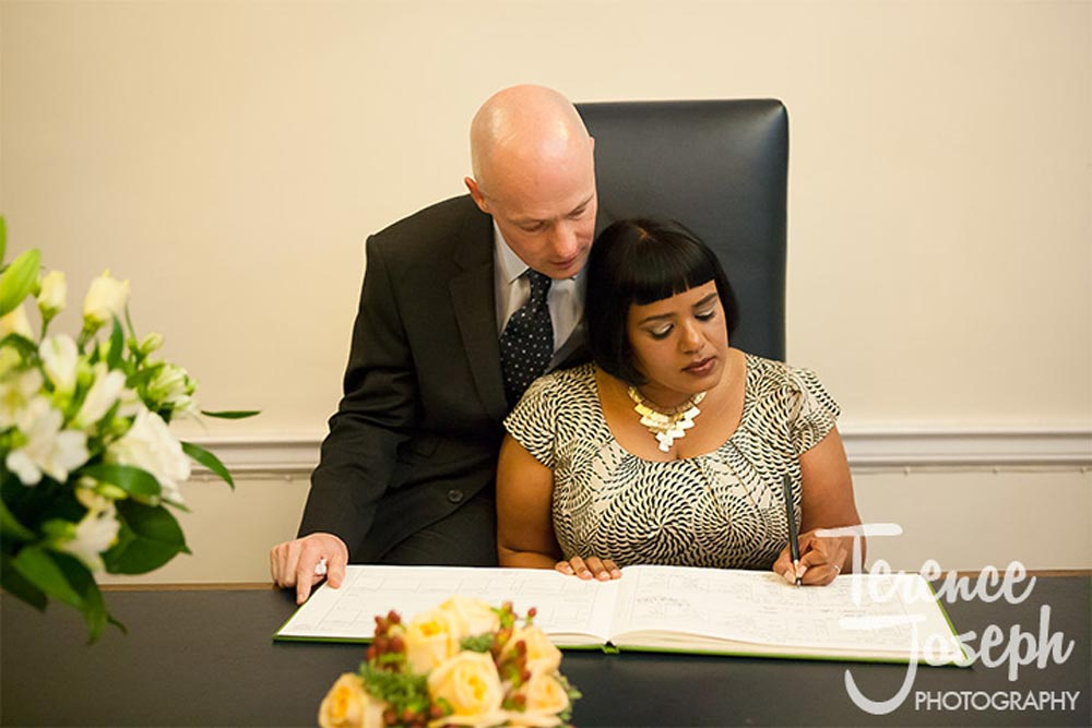 Signing of the wedding register in Westminster London