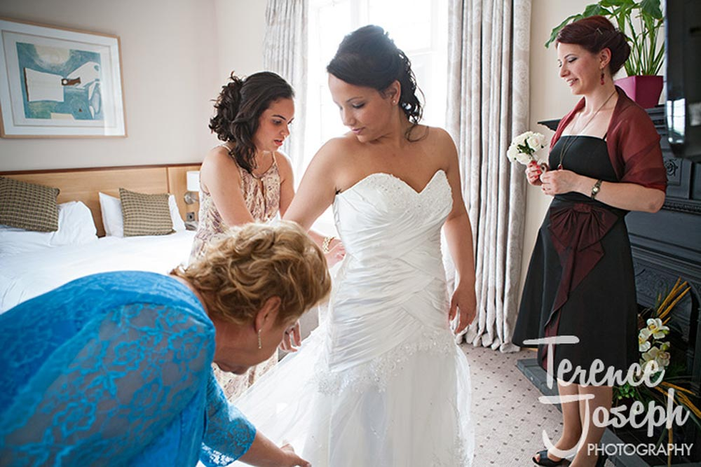 Lovely bride gets ready at Moran Hotel London