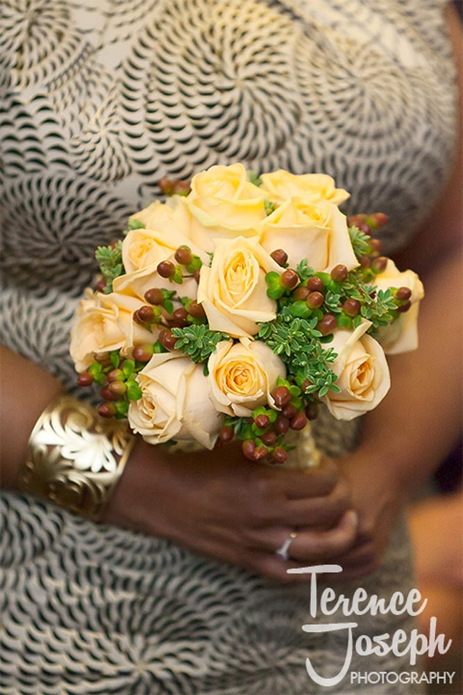 Yellow roses in bride Wedding bouquet