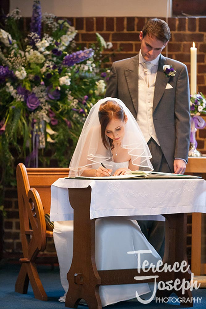 The signing at church wedding