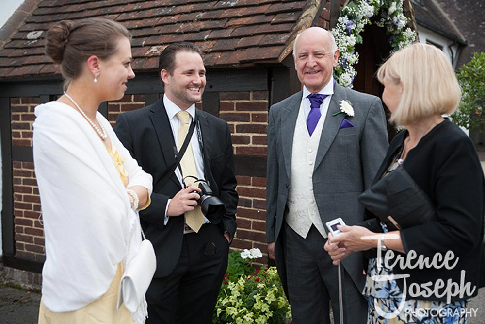 Wedding guests outside Church in Reading