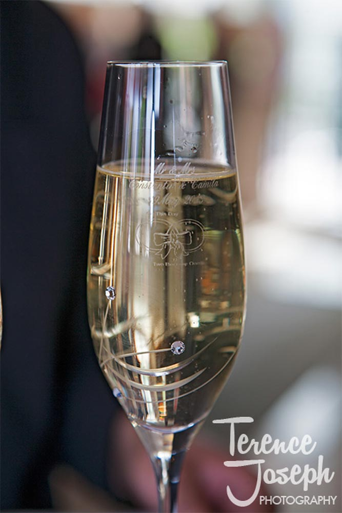 Beautiful engraved wedding champagne glass