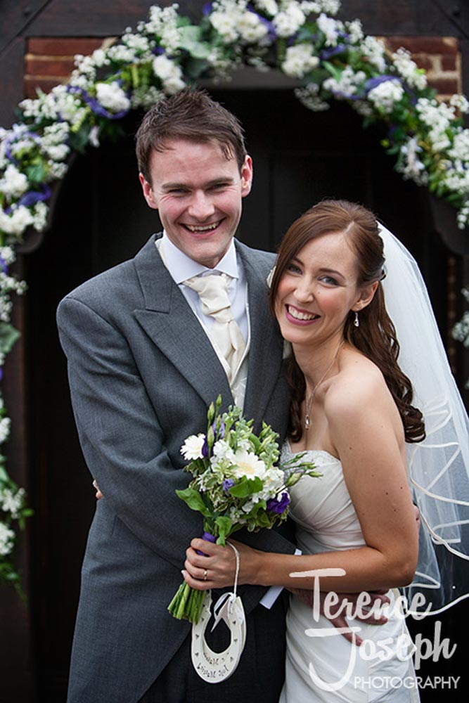 Lovely bride and groom photo outside church