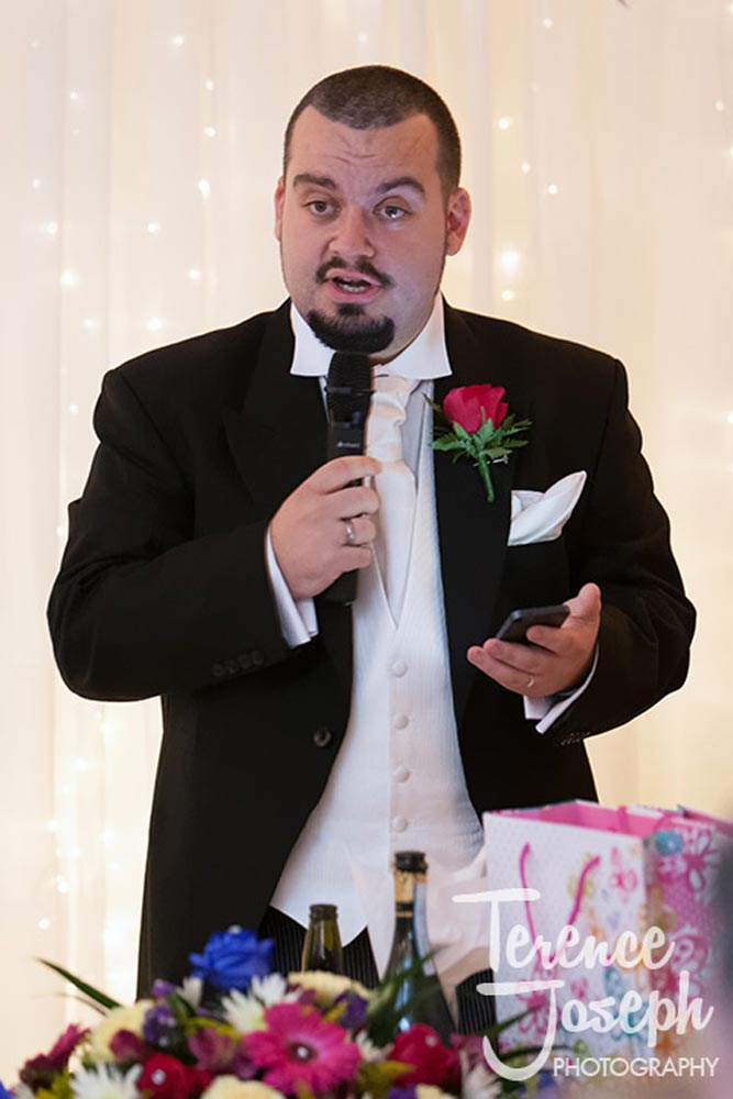 Groom gets stuck into his speech