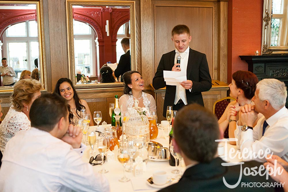 Groom speech wedding guests laugh at Hotel in London