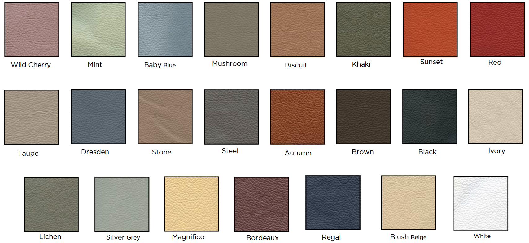 Leather colour options