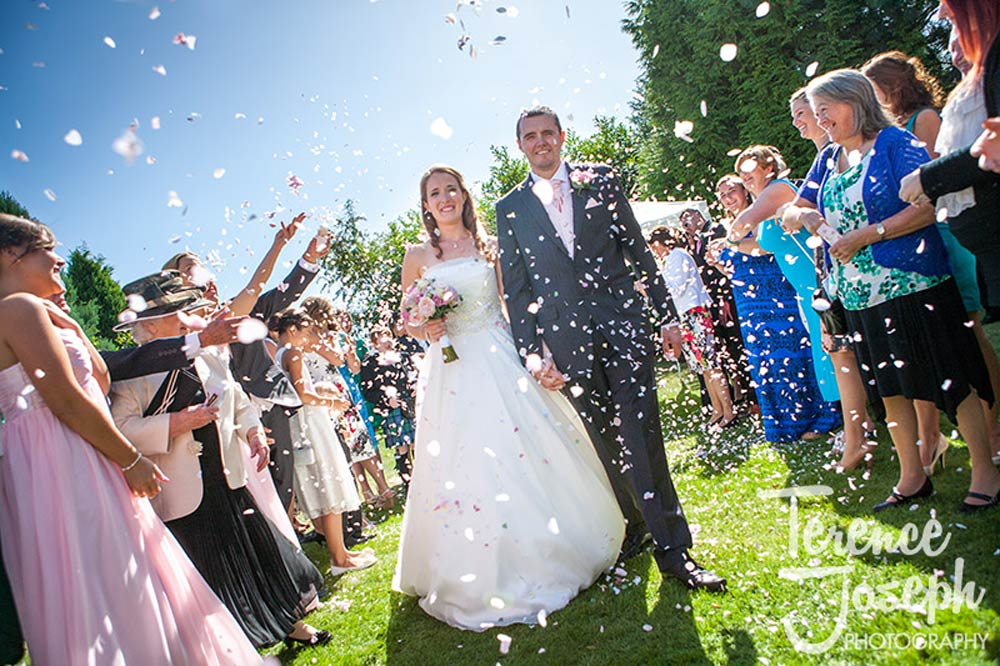 Confetti photo at outdoor Summer wedding in Reading