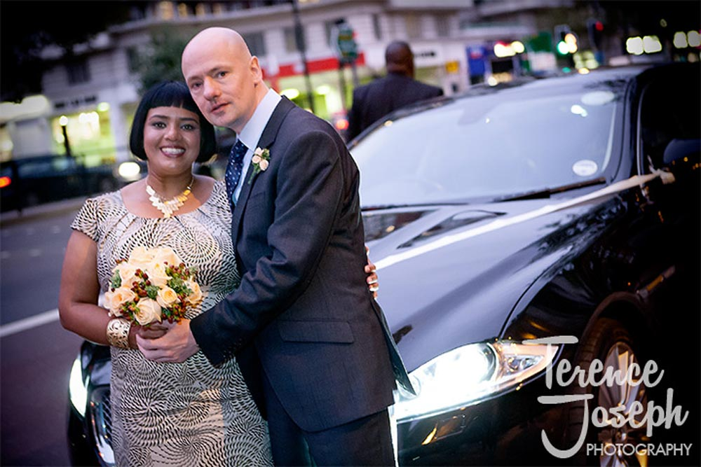Evening wedding portrait centeral London