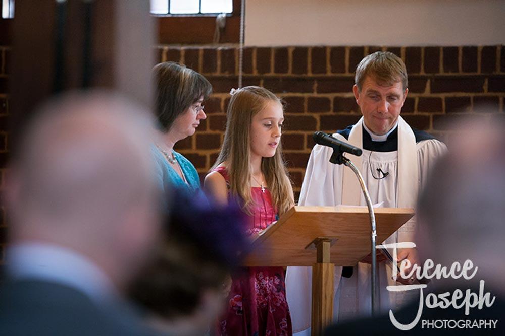 Reading at church wedding