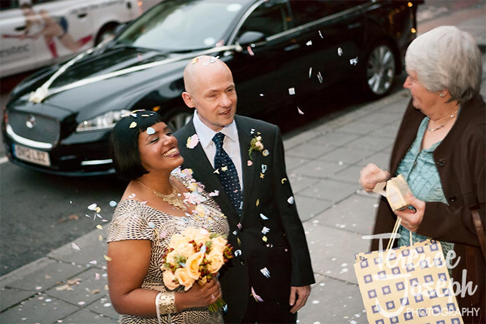Wedding confetti outside The Old Marylebone Town Hall